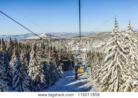 Ski Lift With Chairs In Kopaonik Resort In Serbia