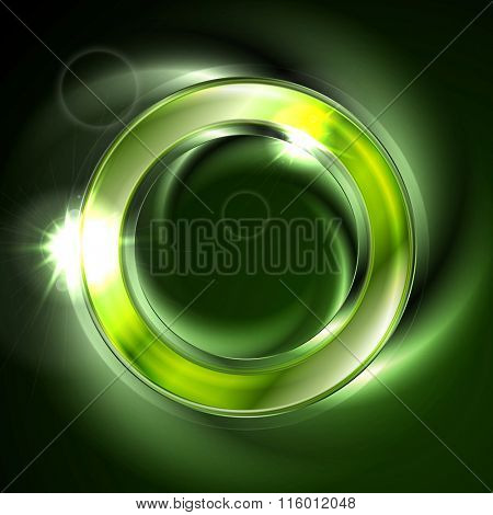 Bright glow green iridescent round logo vector design. Glowing effect and lens flare sparks on neon ring