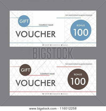 Vector template design gift voucher with abstract pattern