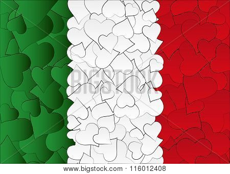Hearts doodles hand drawn flag Italy, with love from italy, a lot of hearts
