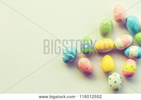Easter Eggs And Pastel Background