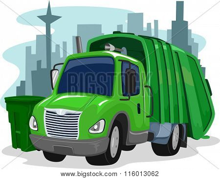 Illustration of a Green Garbage Truck Collecting Trash
