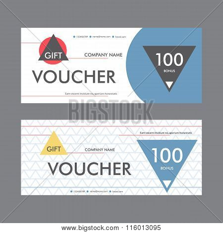 Vector illustration. Template design of the voucher in a modern abstract style