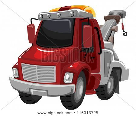 Illustration of a Red Tow Truck Ready for Use