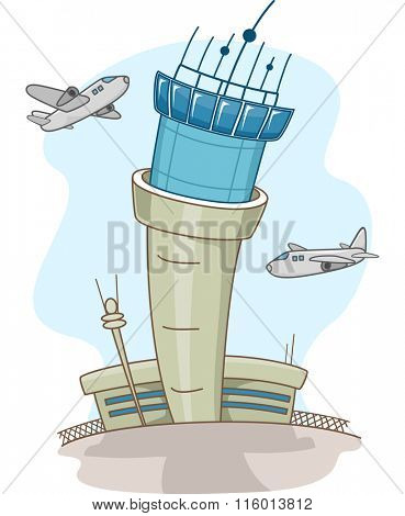 Illustration of Airplanes Circling Around a Control Tower