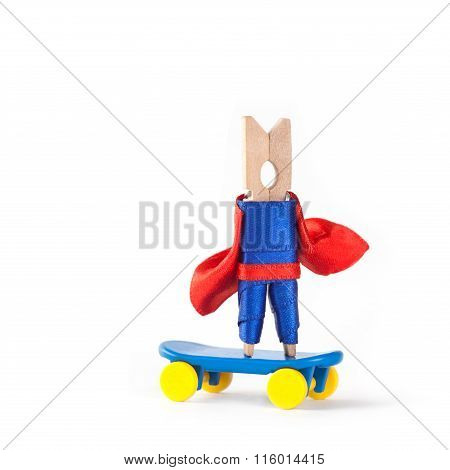Skateboarder coach hero. Skating clothespin superhero. Sport design concept. white background, copy