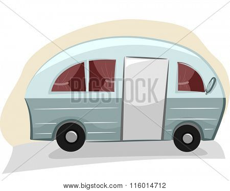 Illustration of a Trailer Van with Visible Curtains