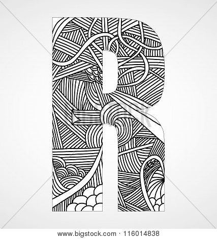 Letter R from doodle alphabet.