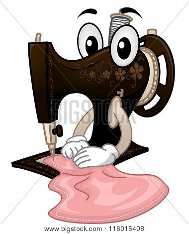 Mascot Illustration of a Vintage Sewing Machine Working on a Piece of Fabric