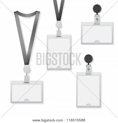 Identification Card Templates With Lanyard. Vector Illustration