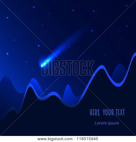 Comet On The Blue Background. Vector