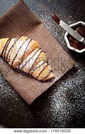 Fresh homemade croissants with chocolate