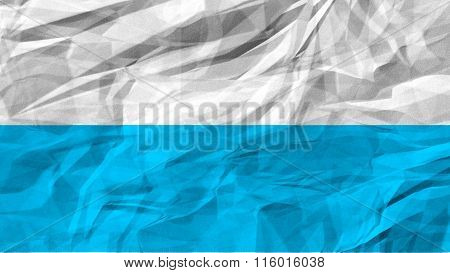 Flag of Virgin Mary, Marian flag, blue and white flag painted on paper texture