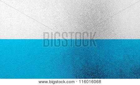 Flag of Virgin Mary, Marian flag, blue and white flag painted on glass