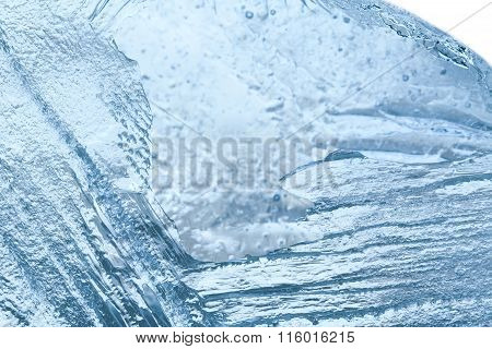 Closeup of blue ice background. cold storage concept. soft focus
