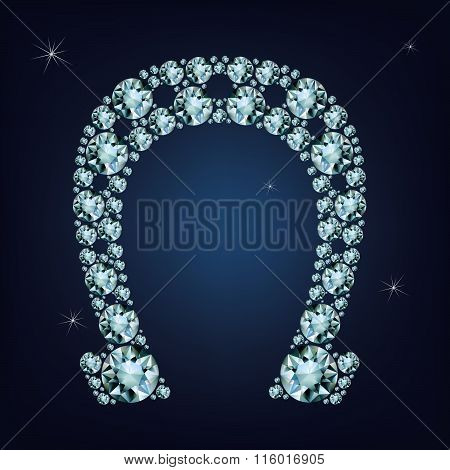 Lucky horseshoe made a lot of diamonds