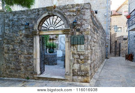 Entrance To Archaeological Museum, Old Town Of Budva, Montenegro