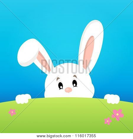 Image with lurking Easter bunny theme 2 - eps10 vector illustration.