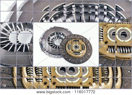 Clutch disc kit car on a white background