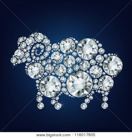 2015 new year card with sheep made up a lot of diamonds on the black background