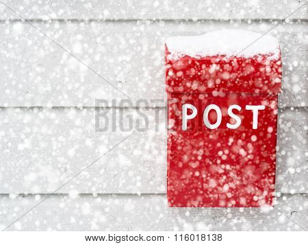 Red Mailbox In Snow