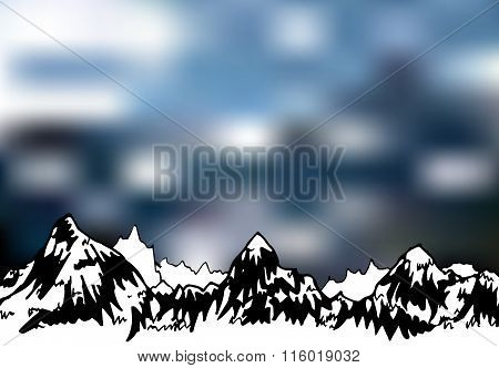 Mountains on blur neutral background