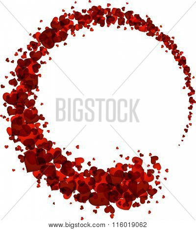 Abstract card with circle of red hearts. Vector illustration.