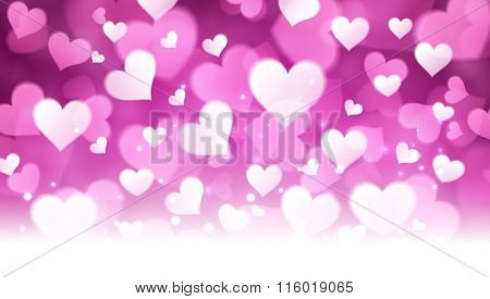 Valentine's violet background with hearts. Vector paper illustration.