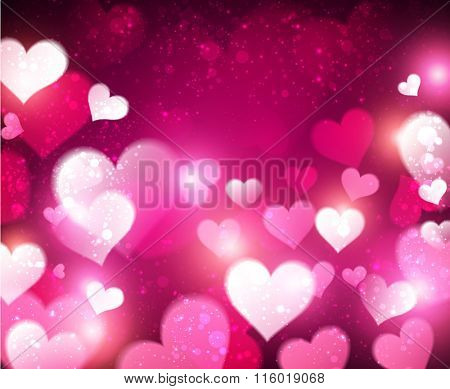 Valentine violet abstract background with hearts. Vector illustration.
