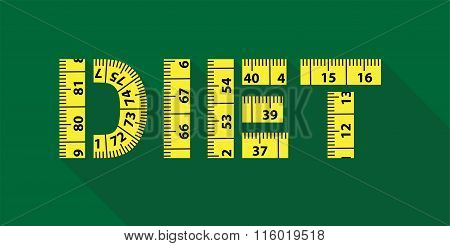 Diet word with yellow measuring tape