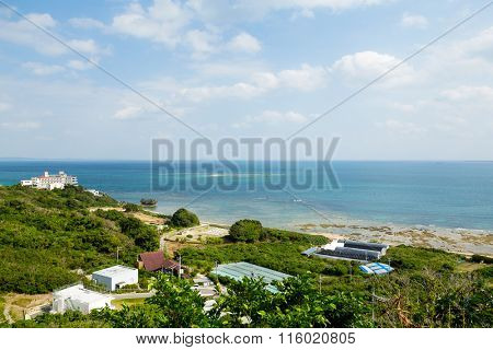 Okinawa village with clear blue sky
