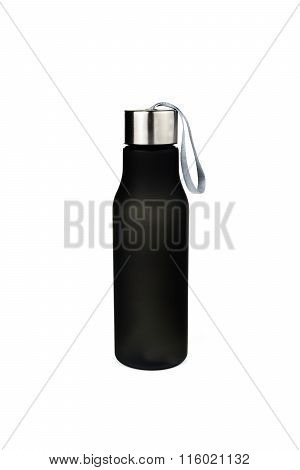 Black Plastic Bottle Water Canteen Isolated White