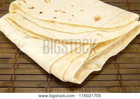 Large Thin Pita Bread, Isolated