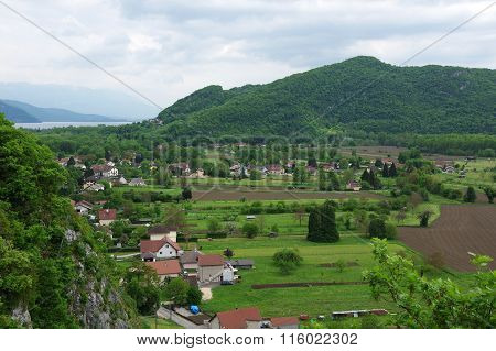 French Village Between Mountains