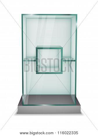 Empty Glass Showcase. Vector Illustration