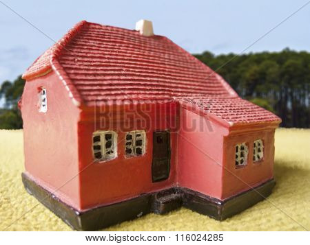 Farm land house in a blur background