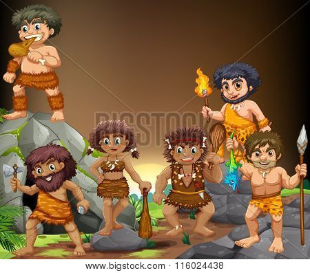 Cave people living in the cave illustration