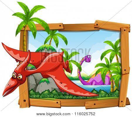 Pterodactyl dinosaur in wooden frame illustration