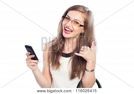 Happy Business Woman Holding Smartphone And Showing Call Me Sign.