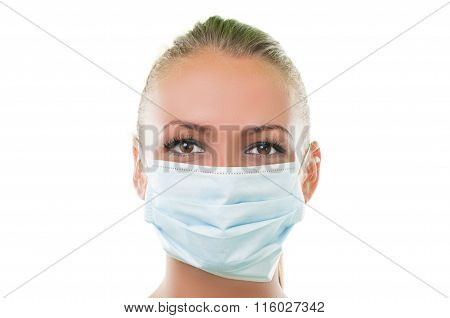 Face Of A Doctor Woman Wearing Hospital Mask.