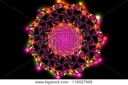 Abstract Fractal Fantasy Magenta Pattern And Shapes.