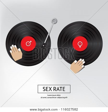 Sex Rate Background. Sex By Music. Isolated