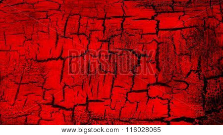 Red flag painted on cracked ground. Red cracked ground