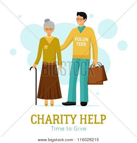 Volunteers Charity Help Organization Flat Poster