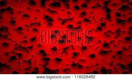Red flag painted on wall with bullet holes. Red wall
