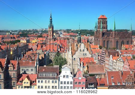 Top View On Gdansk (danzig)old Town In Poland