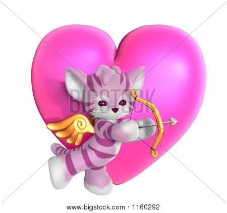 Cupid Kitty With Heart 2