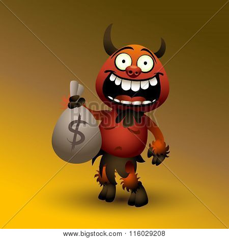 Fanny red devil with money. eps