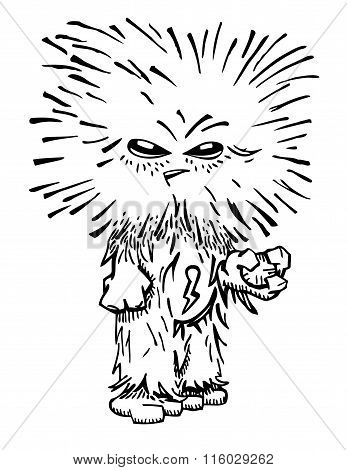 Unusual Funny Hairy Monster..eps