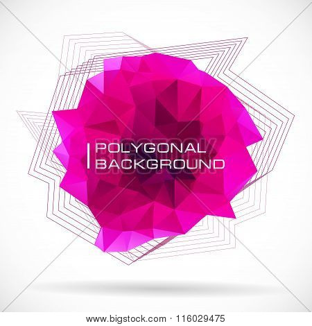 Pink Shape Polygonal Abstract. Concept Of Futuristic Minimalism Style Isolated On White Background.